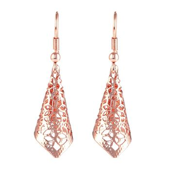 """Cherry Blossoms"" Flower Charms Earrings, Rose Gold Filigree Dangle Earrings for Women & Girls"
