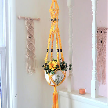 Yellow Macrame Plant Hanger, Large beads Modern hanging planter, Boho Pot Hanger, Thick chunky Plant Holder, Birdcage Pot Holder Garden Gift