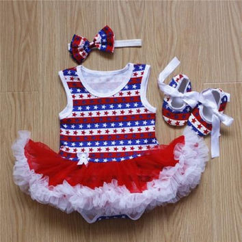 Baby Girls Patriotic 3 Piece Outfit Stars and Stripes Red White and Blue