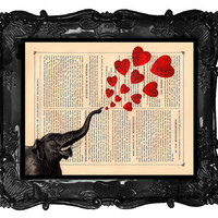 Love Elephant Art Print Vintage Dictionary Print Antique Hearts Book Page Elephant Art Print