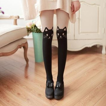 Beautiful Design Women Silk Stockings Pantyhose Ribbed Over Cute Cat Rabbit Sexy Slim Tights Fashion Gifts for Female
