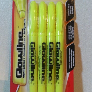 Highlighters yellow 4 pack by Glowline New in sealed package