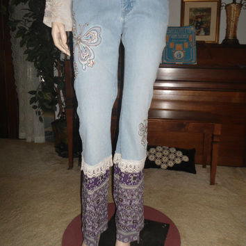 60's 70's Boho/Hippie Clothing Upcycled Jean Pants with Purple Rayon and Beaded Butterflies and Lace On Sale Handmade Hippie Pants