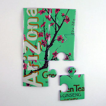 Puzzle made from Arizona soda can puzzle - soda can magnet - soda can gift - Arizona Green tea gift - unique gift for her - gift for teacher