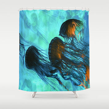 Jellyfish of the Under Sea Volcano Shower Curtain by Distortion Art