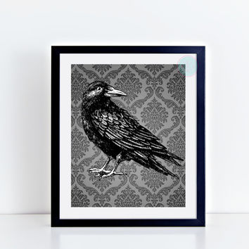 "Gothic Printable Art, ""Raven"", Gothic Decor, Halloween Prints, Damask Print, Dorm Tabletop Art, Office Decor, Scandinavian Print, Halloween"