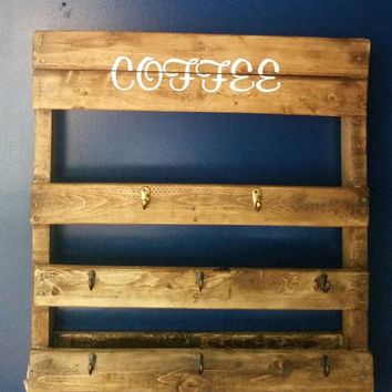 Pallet-Pallet Shelf-Coffee Mug Holder-Shelving-Repurposed Wood-Refurbished Wood-Storage -Kitchen Decor-Hand Painted-Mother's Day Gift