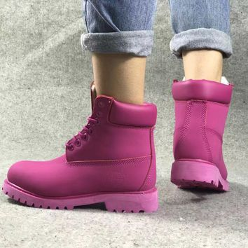 PEAPON Timberland Rhubarb Boots Roseo Plush Black Red Waterproof Martin Boots