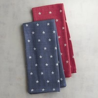 Red and Blue Stars Jacquard Towel Set of 2