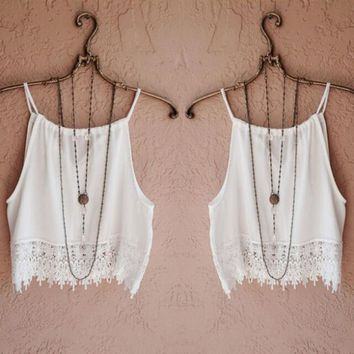 2017 Hot Fashion Sexy Summer Cool White Blouse for Women Lady Lace Sleeveless Camisole Casual Tops 4 size Free Shipping Y1