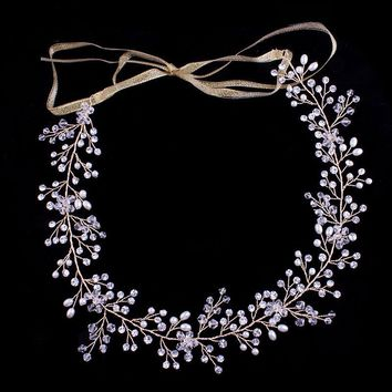 Hot sale Elegant Classic Crystal and Pearls Wedding Headpiece Hair Vine Hair accessories Headband Bridal Headdress