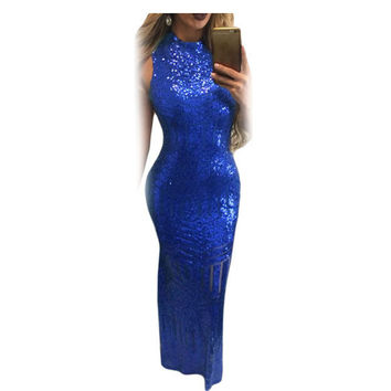 SEBOWEL 2017 Floor-length Womens Black Blue Gold Sequin Dress Sexy Open Back Mermaid Pageant Gown Party Dresses Robe Vintage