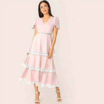 Lace Trim Flutter Sleeve Layered Ruffle Dress Romantic Pink Pastel Women Flounce Sleeve Fit and Flare Dresses