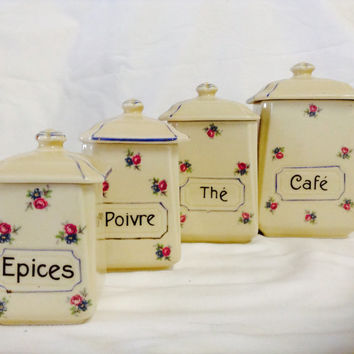 4 French Storage Jars  Pots canisters Coffee Tea Pepper Spice