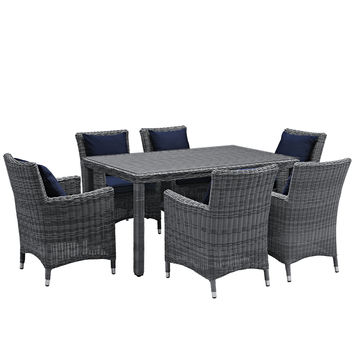 LexMod Summon 7 Piece Outdoor Patio Sunbrella Dining Set in Canvas Navy