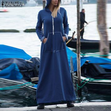 2018 ZANZEA Winter Autumn Women Hooded Long Sleeve Long Sweatshirt Dress Casual loose Vintage Baggy Kaftan Black Maxi Vestidos