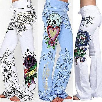 Boho Womens Floral Print Palazzo Trousers Ladies Wide Leg Flared Loose Pants Hot Ladies Women Pant Casual Clothing