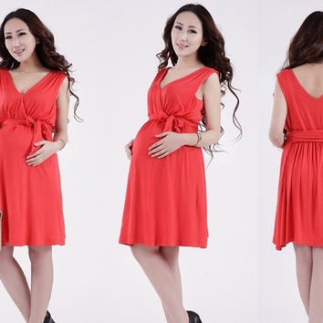 Slim and elegant spring and summer fashion vest dress for pregnant women Maternity Dress = 1947008388