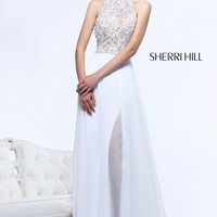 High Neckline Beaded Gown by Sherri Hill