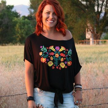 Oversized Screenprinted Floral Top | Regular and Plus Sized