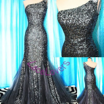 one shoulder dress  sleeveless mermaid dress long dress sequin dress bridesmaid dress sexy dresses long dress party dresses evening dress prom dresses chiffon dress formal elegant plus size modest dress for wedding dresses fashion dresses new 2014