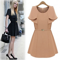 Fashion O Neck Cap Sleeves Knitting Waist Skirt Mini Dress with Belt