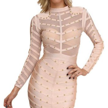 Secret Fantasy Nude Stud Long Sleeve Sheer Mesh Stripe Crew Neck Bodycon Bandage Midi Dress