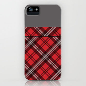 Scottish Plaid (Tartan) - Red iPhone Case by ts55 | Society6