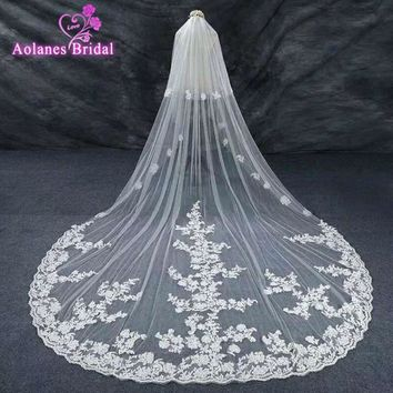 2017 New 4.3M Vintage Style Lace Cathedral Wedding Veils Applique Edge Long Two Layer Bridal Veils Custom Made velos de novia