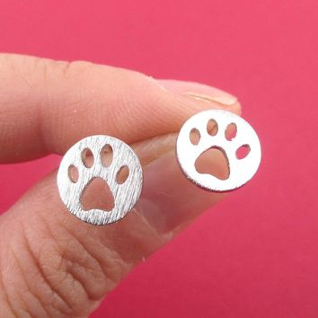 Round Paw Print Cut Out Shaped Stud Earrings in Silver
