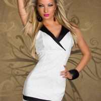 Sleeveless Notched Collar Neckline with Stripe Accent Mini Dress