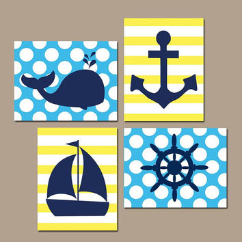 BOY NAUTICAL Wall Art- Baby Boy Nautical Nursery Artwork- Ocean Bathroom Decor- Whale Anchor Sailboat Wheel- CANVAS or Prints- Set of 4