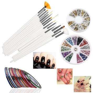 RUIMIO Multicolor Nail Art Sticker with 15pcs Painting Brush Pen Tool Set and 30 colors Nail Art Line