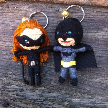 Cat women Batman dark night Tank shirt Voodoo String Doll Funny Keyring Keychain Key Ring Key Chain Bag Car phone chain