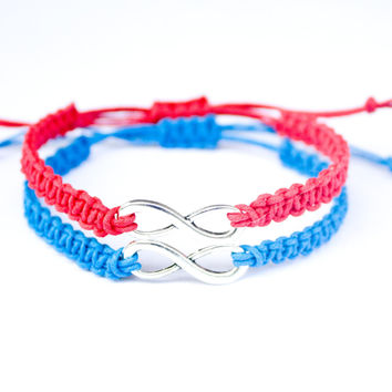 Red and Blue Infinity Bracelets