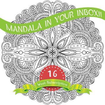 16 Weeks Mandala Coloring Pages subscription, mandala, meditation, peace, relaxing, stress relieving, zen - Digital Files Only