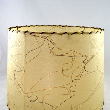Vintage 1950s Fiberglass Lamp Shade - Off White with Brown, Black, White & Gold Fibers and Bronze Lacing