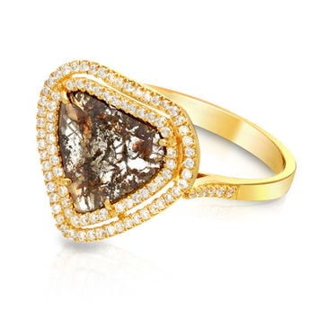 One of a Kind Diamond Slice Double Halo Ring