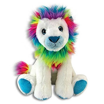 The Petting Zoo Rainbow Lion 11 in. Plush Toy