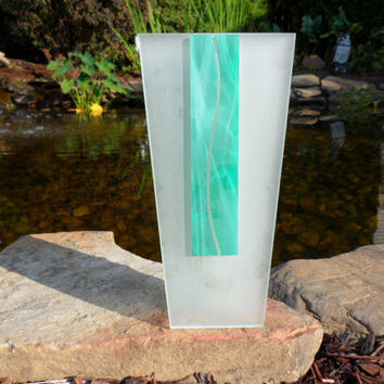 Morin Choinière Montreal - Frosted Glass Vase - 9 Inches Tall - Two Tone Frosted Glass Bud Vase - Objet d'art