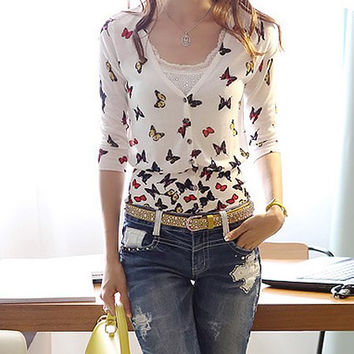 White V-Neck Butterfly Print Cardigan