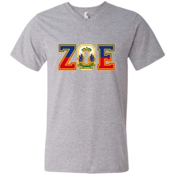 Haitian Zoe T-Shirt - Haitian pride for haitian flag day 982 Anvil Men's Printed V-Neck T-Shirt