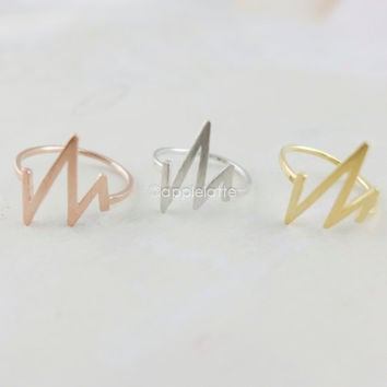 heart beat ring, life ring, EKG ring, heart monitor ring in gold, silver or rose gold