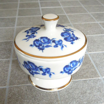 Jlona porcelain trinket box powder jar jewelry box - Wedding favor bridal shower favor - Gold-trim blue floral trinket box - West Germany