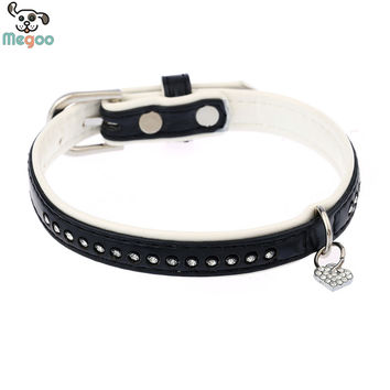 4 Size Soft PU Leather Pet Dog Collar Bling Crystal Pendant Rhinestone Studded Cat Collar