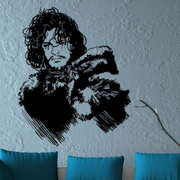 Game of Thrones 3D wallpaper iron throne Jon Snow portrait carved stickers