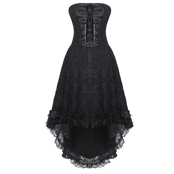 Steampunk Corset Dress Gothic Overbust Lace Up Vintage Bustier Top Corsets and Bustiers Black Halloween Costume