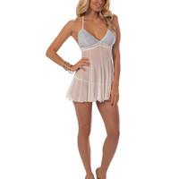 Sheer Chemise W-lace Cups Ivory-sweet Blue Sm