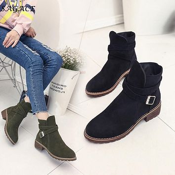 Women Ankle Flock Boots Warm Winter Shoes Solid Romon Middle 3cm Heel High Martin Shoes casual Buckle Boots