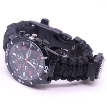 Marcatsa Multifunction Field Survival Men's Braided Bracelets Paracord Outdoor Camping Rescue Rope Watch Compass 4 In 1 Bracelet